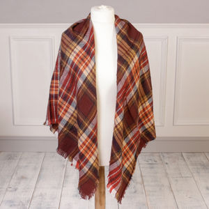 Autumn Brown Tartan Plaid Scarf