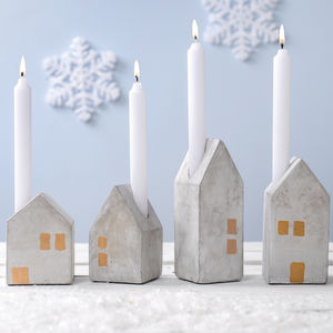 Four Concrete House Advent Candle Holders - candlesticks