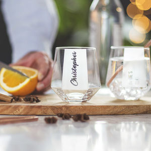 Personalised Hexagonal Tumbler Glass - personalised gifts