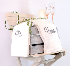 Set Of 'His' And 'Hers' Cotton Hand Towels - bathroom
