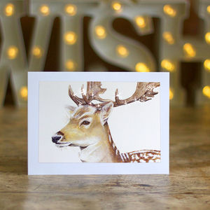 Sparkly Fallow Deer Christmas Cards