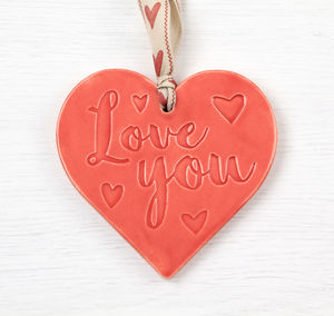 Ceramic 'Love You' Hanging Heart
