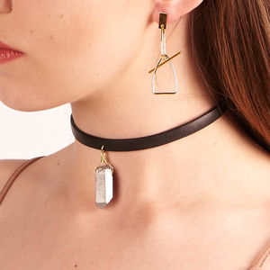 Black Leather Choker With Semi Precious Stone