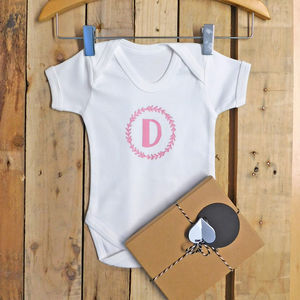 Personalised Initial Wreath Baby Vest