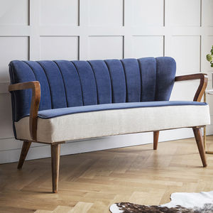Tallulah Two Seater Sofa In Velvet And Linen