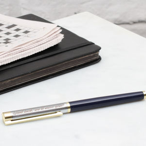 Personalised Rhodium Plated And Enamel Rollerball Pen - 70th birthday gifts