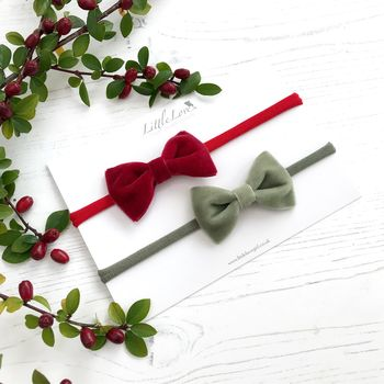 Baby Or Toddler Velvet Bow headband set, Red velvet baby Hair bow, christmas velvet bow headbands for baby, red and green baby headband set, christmas baby hair accessories, red baby hair bow, sage green bow for baby