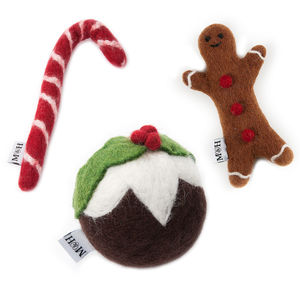 Festive Wool Dog Toys - playing
