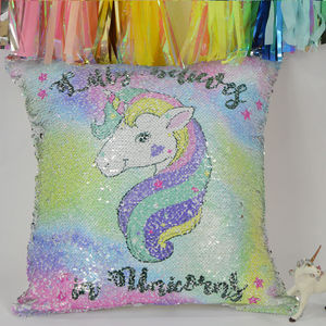 'I Believe In Unicorns' Sequin Reveal Cushion Gold Only - children's room