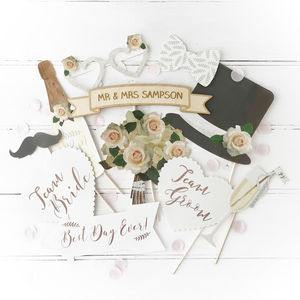 Wedding Photo Booth Props With Personalised Sign - photobooth props & backdrops