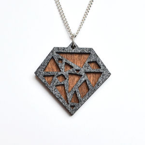 Contemporary Geometric Diamond Pendant Necklace D1