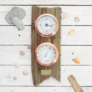 'Coastal Adventurer' Personalised Weather Dial Gift Set - clocks