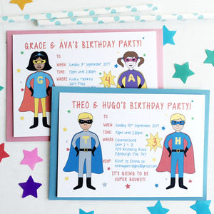 Twin Or Joint Superhero Birthday Party Invitations