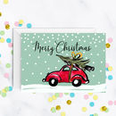 Christmas Tree On A Red Car Card A5
