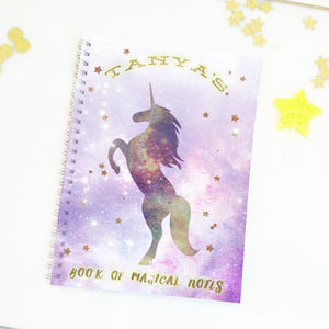 Personalised Unicorn Notebook Gift 'Galaxy unicorn'
