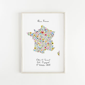 Personalised Floral Map Of France Print