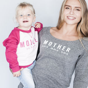Personalised Mother And Child Sweatshirt Set Supersoft - mother & child sets