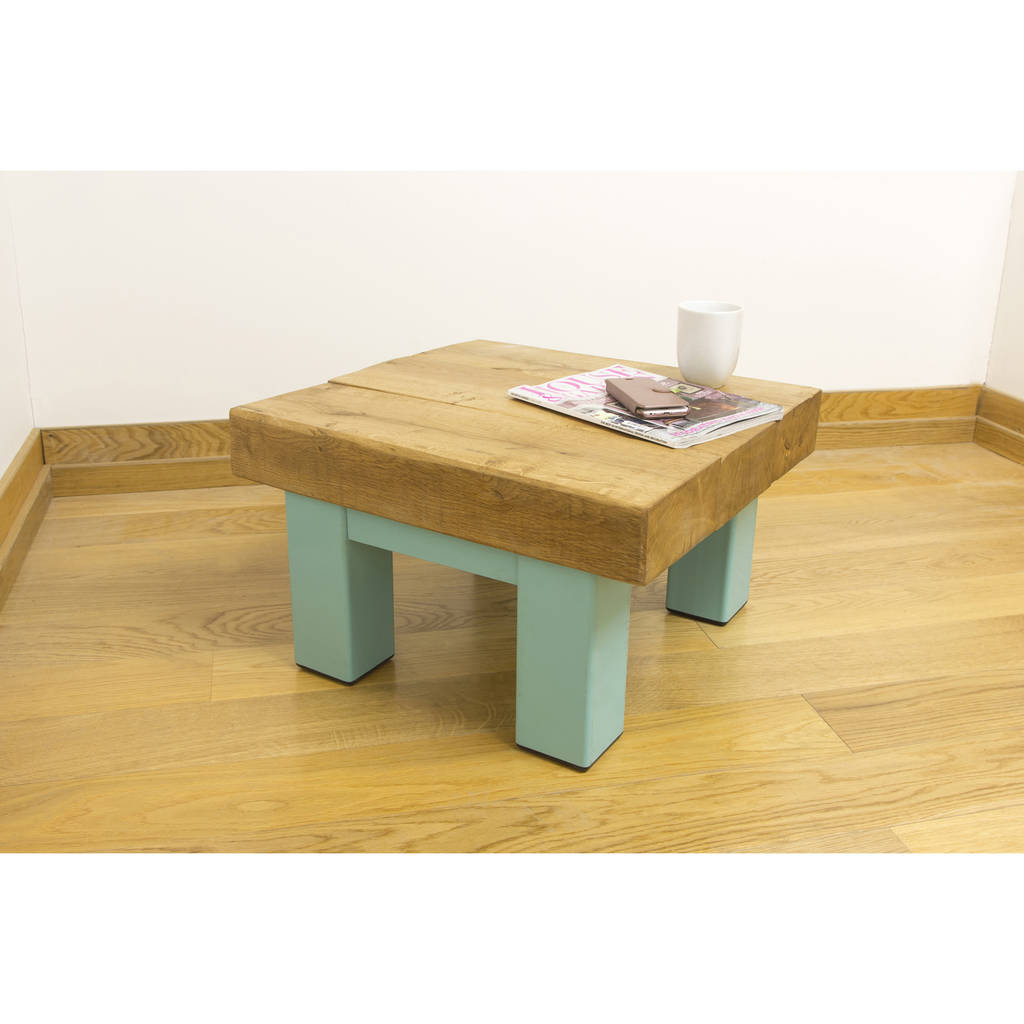 Oak And Iron Small Square Coffee Table