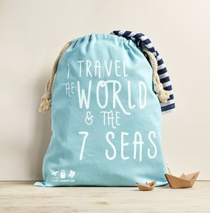 Travel Laundry Bag In Premium Canvas 'I Travel…'