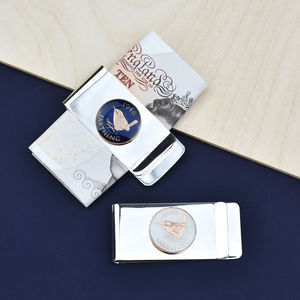 Farthing 70th 1947 Enamel Coin Money Clip - wallets