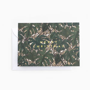 Tropical Leaf Animal Print 'Merry Christmas' Card