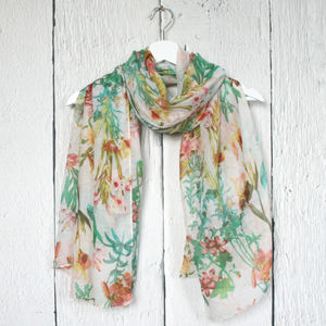 Botanical Floral Print Scarf - women's accessories