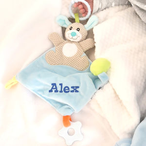 Personalised Blue Bunny Comforter - blankets, comforters & throws