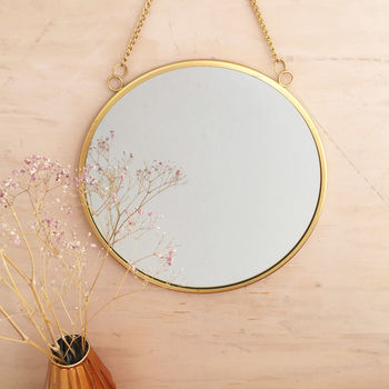 Round Gold Mirror With Chain