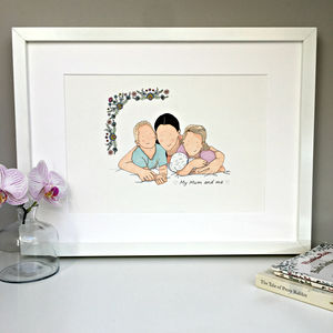Personalised Mother And Child/Ren Portrait Illustration