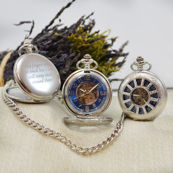 Personalised Pocket Watch Blue And Silver Dial