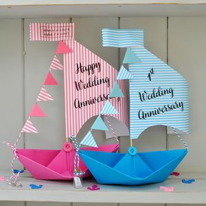 Personalised Anniversary Sail Boat Card