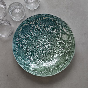 Glass Decorative Fruit Bowl Waterlily Design