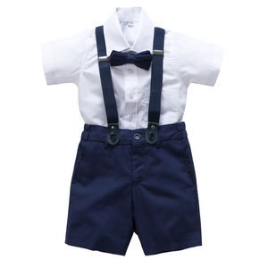 Ring Bearer Linen Blend 4pc Outfit With Brace - clothing