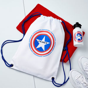 Boys Personalised Superhero Pe Bag And Water Bottle