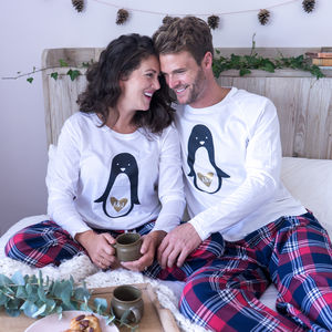 Personalised Penguin Couple Pyjamas