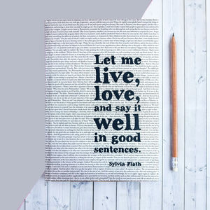 Sylvia Plath 'Good Sentences' Quote Writer's Journal