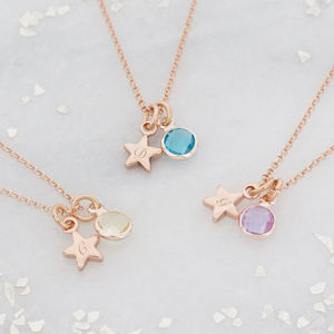 Personalised Star Birthstone Necklace - necklaces & pendants