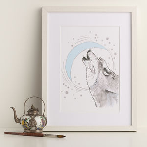 Wolf And Moon Art Print - animals & wildlife