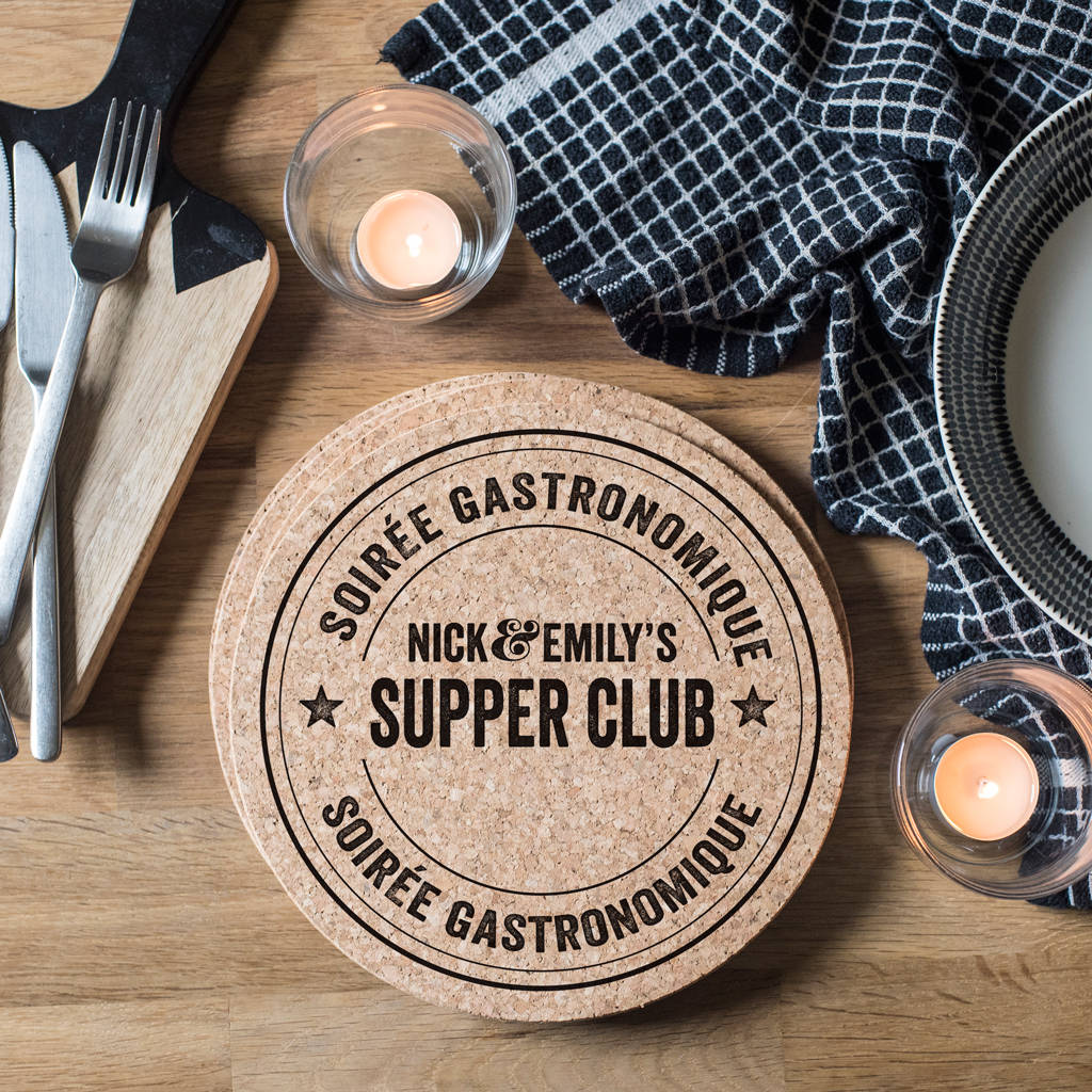 Set Of Four Personalised Bistro Cork Placemats