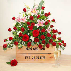 Personalised Crate - Ruby Wedding Anniversary - 40th anniversary: ruby