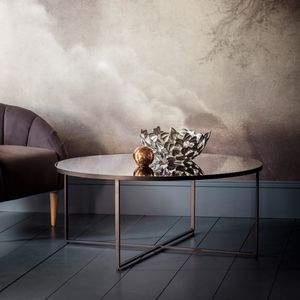 Round Smoked Glass Mirrored Coffee Table - coffee tables