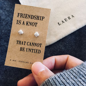 Friendship Knot Silver Earrings - personalised gifts sale