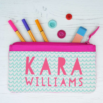 Personalised Pastel Patterned Children's Pencil Case