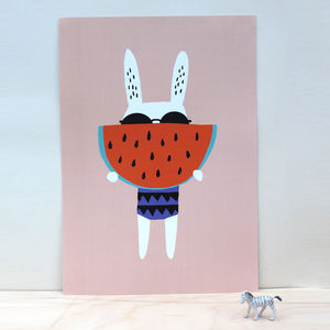 Watermelon Rabbit Poster