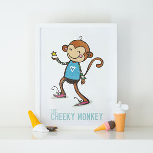 Cheeky Monkey Children's Illustration Print