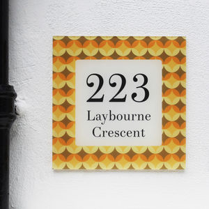 Personalised House Number Sign, Retro Quant