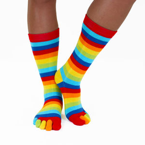 Mid Calf Stripy Toe Socks - socks