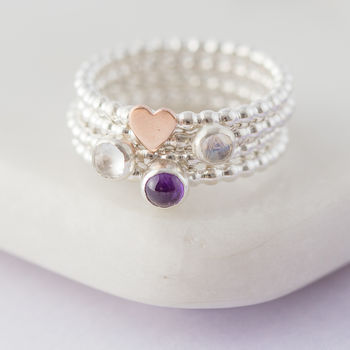 Sterling Silver Beaded Birthstone Stacking Rings