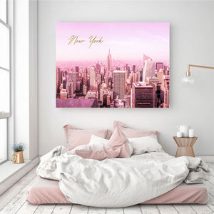 New York Print In Pink And Gold - photography & portraits