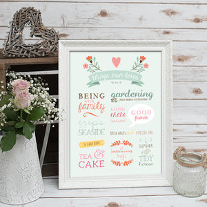 Things Mum Loves Mother's Day Poster - posters & prints